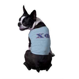 Chi Phi Blue and Red Letters Dog Tee