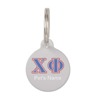 Chi Phi Blue and Red Letters Pet ID Tag