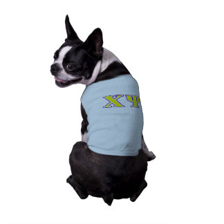 Chi Psi Yellow and Purple Letters Sleeveless Dog Shirt