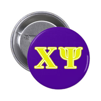 Chi Psi Yellow Letters 6 Cm Round Badge