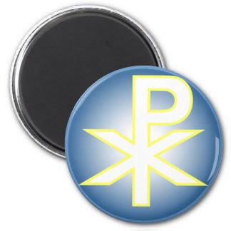 Chi Ro Christian 6 Cm Round Magnet