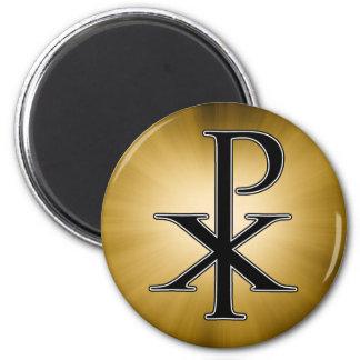 Chi Ro Design 6 Cm Round Magnet