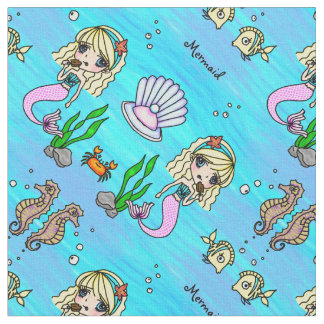 Chibi Anime Mermaid and fish personalizable fabric