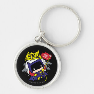 Chibi Batgirl Ready For Action Silver-Colored Round Key Ring