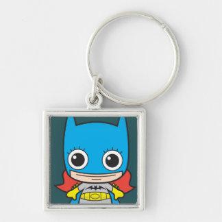 Chibi Batgirl Silver-Colored Square Key Ring