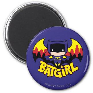 Chibi Batgirl With Gotham Skyline & Logo 6 Cm Round Magnet