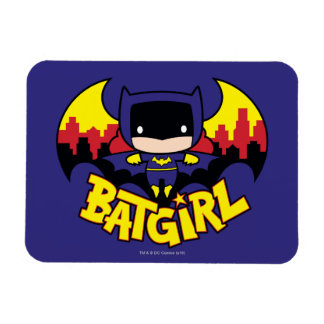 Chibi Batgirl With Gotham Skyline & Logo Magnet