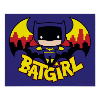 Chibi Batgirl With Gotham Skyline & Logo Poster