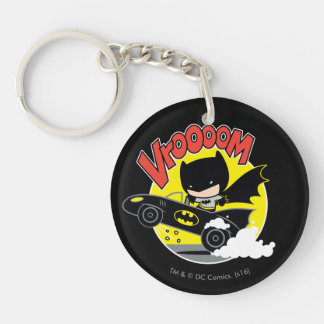 Chibi Batman In The Batmobile Double-Sided Round Acrylic Key Ring