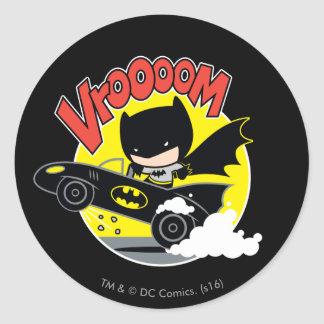 Chibi Batman In The Batmobile Round Sticker