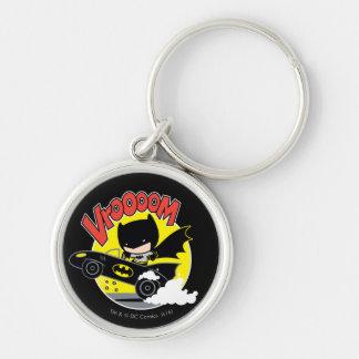 Chibi Batman In The Batmobile Silver-Colored Round Key Ring