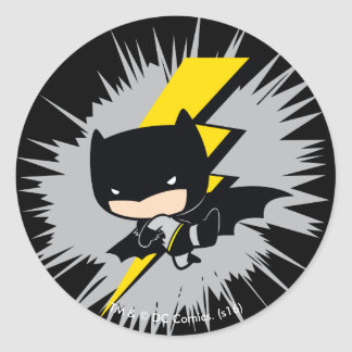 Chibi Batman Lightning Kick Round Sticker