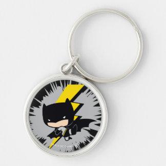 Chibi Batman Lightning Kick Silver-Colored Round Key Ring