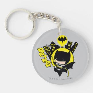 Chibi Batman Scaling The City Double-Sided Round Acrylic Key Ring