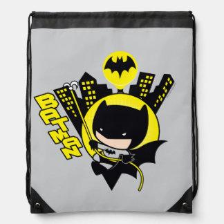 Chibi Batman Scaling The City Drawstring Bag