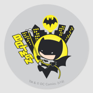 Chibi Batman Scaling The City Round Sticker