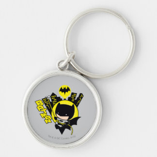 Chibi Batman Scaling The City Silver-Colored Round Key Ring