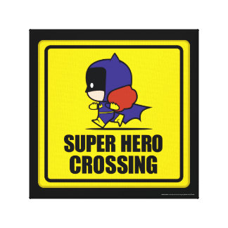 Chibi Batwoman Super Hero Crossing Sign Canvas Print