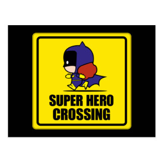 Chibi Batwoman Super Hero Crossing Sign Postcard