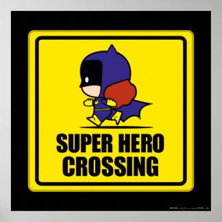 Chibi Batwoman Super Hero Crossing Sign Poster
