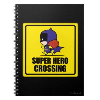 Chibi Batwoman Super Hero Crossing Sign Spiral Notebook