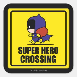 Chibi Batwoman Super Hero Crossing Sign Square Sticker