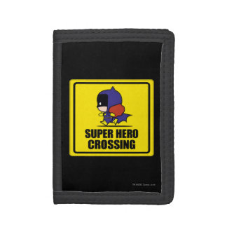 Chibi Batwoman Super Hero Crossing Sign Trifold Wallets