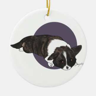 Chibi Brindle Cardigan Corgi Ceramic Ornament