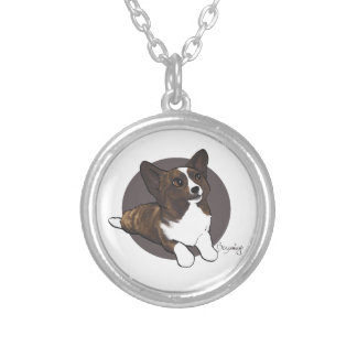 Chibi Brindle Cardigan Corgi Silver Plated Necklace