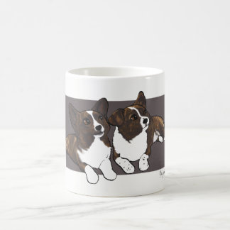 Chibi Brindle Cardigan Corgis Coffee Mug