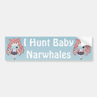 Chibi Cat Girl With Baby Narwal Car Bumper Sticker