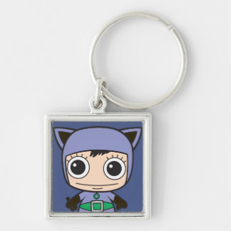 Chibi Cat Woman Silver-Colored Square Key Ring