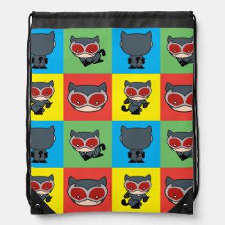 Chibi Catwoman Character Poses Drawstring Bag