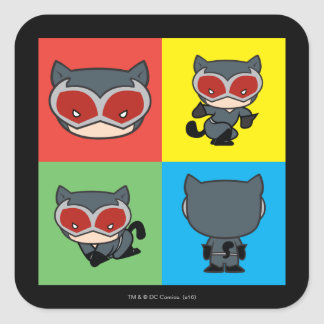 Chibi Catwoman Character Poses Square Sticker