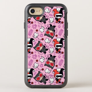 Chibi Catwoman, Harley Quinn, & Kittens Pattern OtterBox Symmetry iPhone 8/7 Case