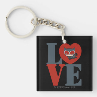 Chibi Catwoman LOVE Double-Sided Square Acrylic Key Ring