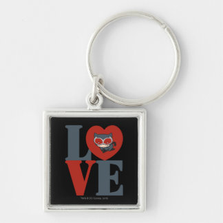 Chibi Catwoman LOVE Silver-Colored Square Key Ring