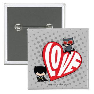 Chibi Catwoman Pounce on Batman 15 Cm Square Badge