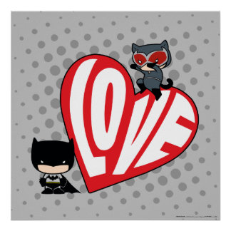 Chibi Catwoman Pounce on Batman 2 Poster