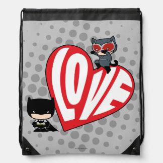 Chibi Catwoman Pounce on Batman Drawstring Bag