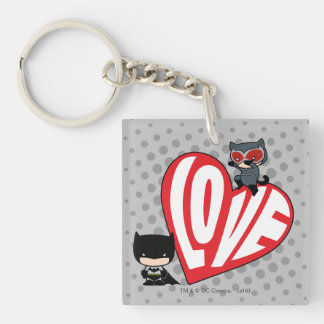 Chibi Catwoman Pounce on Batman Key Ring
