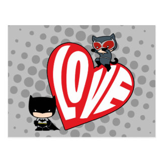 Chibi Catwoman Pounce on Batman Postcard