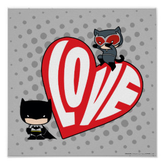 Chibi Catwoman Pounce on Batman Poster