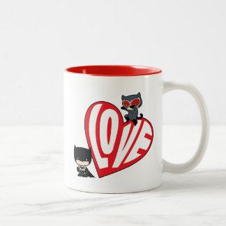 Chibi Catwoman Pounce on Batman Two-Tone Coffee Mug