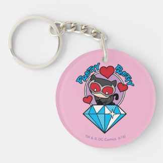 Chibi Catwoman Sitting Atop Large Diamond Key Ring