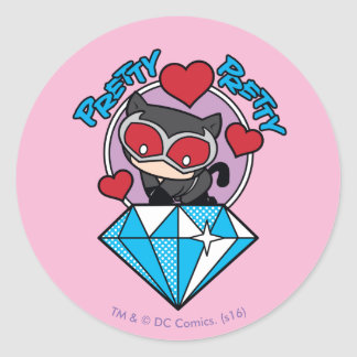 Chibi Catwoman Sitting Atop Large Diamond Round Sticker