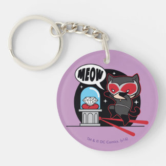 Chibi Catwoman Stealing A Diamond Double-Sided Round Acrylic Key Ring