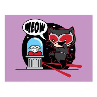 Chibi Catwoman Stealing A Diamond Postcard