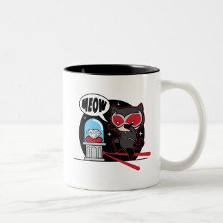 Chibi Catwoman Stealing A Diamond Two-Tone Coffee Mug