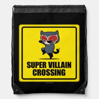 Chibi Catwoman Super Villain Crossing Sign Drawstring Bag